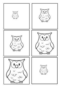 Owl sequencing - small to big or big to small! Preschool Printables, Kindergarten Activities, Preschool Activities, Fall Owl, Clever Kids, Nocturnal Animals, Animal Crafts For Kids, Autumn Activities, Autumn Theme