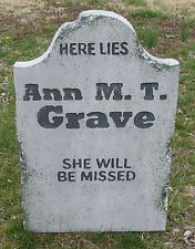 "Halloween 'Ann M. T. Grave' tombstone prop decoration 24""x16""x2"""