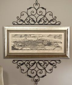 Superieur Wrought Cast Iron Metal Decorative Wall Scroll For Picture Mirror Window Or  Door