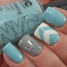Blue, glitter, and chevron! DefineIy going to try this!!                                 instagram photo by carlysisoka  #nail #nails #nailart