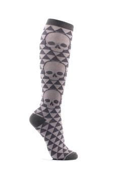 http://www.brokencherry.com #loungefly  Geo Skull Grey Knee Sock   $12.00