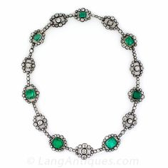 Antique Emerald and Diamond Necklace