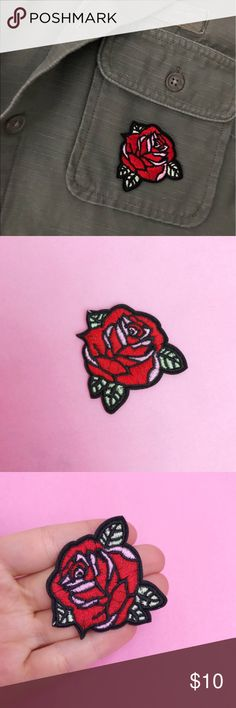 Roses are Red - Red Rose Iron On Embroidered Patch Roses are Red...  Our Iron on Patch is perfect for the flower child in all of us.  Iron it on your favorite denim jacket or your canvas backpack, it works anywhere!    ++Size : - 2 inches x 2 Inches   +What You'll Receive - 1 Rose Embroidered Iron on Patch Accessories