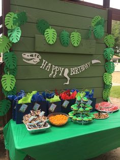 Dino Party welcome Dinasour Birthday, Dinosaur First Birthday, Park Birthday, Fourth Birthday, 4th Birthday Parties, Birthday Party Decorations, Dinosaur Party Decorations, Elmo Birthday, Boy Birthday Themes