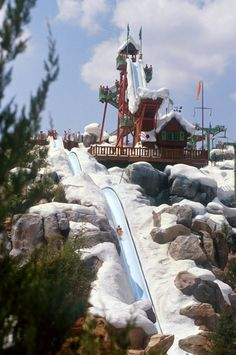 Blizzard Beach, fav water park in the Magic Kingdom!! Love that they play Christmas music all year!~AD