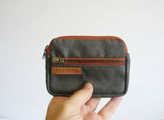 Mens wallet // Handmade men retro gray waxed canvas two copper zipper coin purse- gift for him- Personal accessories