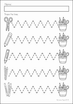 Preschool, Kindergarten, Back to School No Prep Worksheets and Activities. A page from the unit: pre-writing tracing practice.