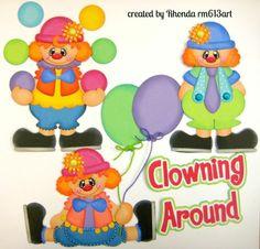 Clown boy girl paper piecing set for  premade scrapbook page -Rhonda rm613art