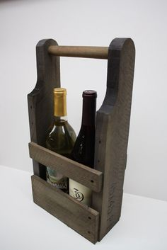 Wine bottle carrier made from pallets - great wedding, shower, Valentine gift! Customize your color.