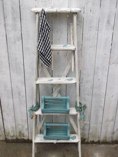 Vintage Antique Wood Ladder Shabby Chic Chalk Paint Ladder Shelf Hanging Rack by RescueRestoreMI on Etsy