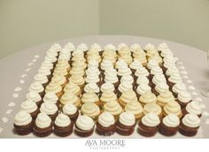 Anthony and Nicole's wedding cupcakes arranged in a monogram   photo credit Ava Moore Photography #WeddingCupcakes #CupcakeDownSouth #CharlestonSCweddings