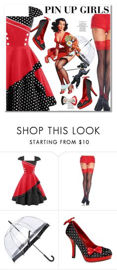 """""""Pin Up Vintage  Dress"""" by lula-l ❤ liked on Polyvore featuring Leg Avenue, Fulton, Pinup Couture, DC Comics and vintage"""