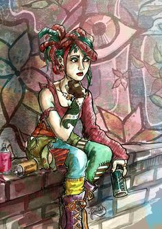 -Tyda- Character design for a personal project. She likes street art.   Hope you like. :D Mixed media: watercolour, pencil, fineliner, Photoshop  #fashion illustration #character design #mixed media