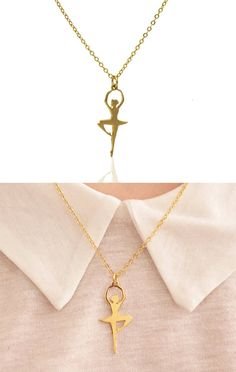Ballerina gold Necklace  dainty gold by MonogramNecklaceVip
