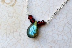 Labradorite Necklace, Garnet Necklace on Sterling Silver - Holly Berry by CircesHouse on Etsy
