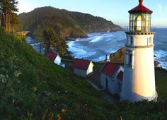Looking south from Heceta Head Lighthouse State Scenic Viewpoint, you see a…