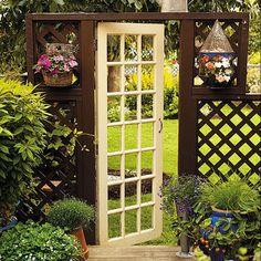 Repurposed Door as Garden Gate