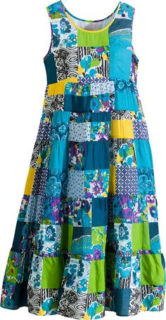 Cotton Patchwork Float: Our cool sleeveless dress is lined to the knee for modesty and comfort, and features a rounded neck that adds softness to a style that flatters all body types. Modest Dresses Casual, Simple Dresses, Summer Dresses, Summer Clothes, Plus Size Ivory Dresses, Vestidos Vintage, Retro Dress, African Dress, Cotton Dresses