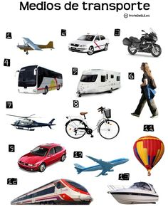 Crucigrama de los medios de transporte (Nivel A2) ~ Actividad online para practicar el léxico de los medios de transporte | ProfeDeELE.es