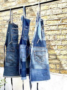 Denim And Lace, Artisanats Denim, Sewing Aprons, Denim Aprons, Recycle Jeans, Repurpose, Work Aprons, Denim Ideas, Patterned Jeans