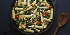 Rigatoni pasta with turkey sausage makes a kid friendly dish with great flavor. This Scott Conant,,recipe comes with your delivered ingredients in your Chef'd box. Spinach Recipes, Pasta Recipes, Cooking Recipes, Sausage Rigatoni, Dude Food, Spinach And Cheese, Turkey Sausage, Turkey Recipes, Fruits And Veggies