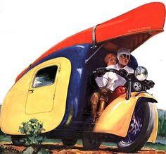 MOTORCYCLE 74: Vintage Motorcycle Camper Trailer