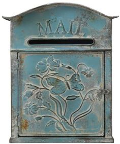 Creative Co-Op Distressed Embossed Tin Wall Mounted Mailbox Vintage Mailbox, Metal Mailbox, Wall Mount Mailbox, Mounted Mailbox, Savannah, Post Box Wall Mounted, Gibraltar Mailboxes, Architectural Mailboxes, Tin Walls