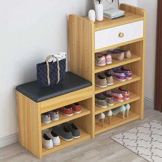 Wooden Shoes Cabinet Modern Change Shoes Bench Shoes Rack Set Multi-functional Drawer Shoes Shelf for Doorway Diy Shoe Storage, Storage Ideas, Shoe Storage Solutions, Wooden Shoe Cabinet, Wood Shoe Rack, Shoe Racks, Shoe Bench, Rack Design, Storage Cabinets