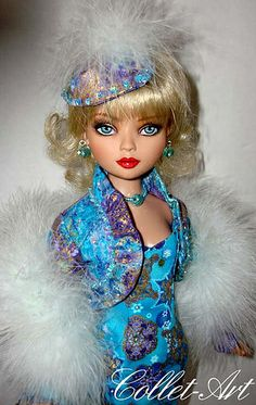 """2012 ELLOWYNE WILDE PRUDENCE MOODY IMPERIUM PARK OOAK OUTFIT """"GILDED SNOWFLAKES"""" BY COLLET-ART 