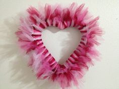 Valentine's Day Tulle Wreath with red, pink and white tulle.