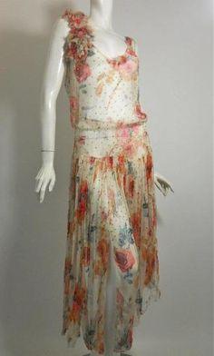 Sweet sheer silk chiffon 1920s dress dotted with prong set rhinestones.