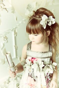 I love this little girl's sleek bangs with an undone updo http://instagram.com/sparklysodastyle