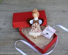 Brooch doll. Gift for Valentine's. Cloth doll. by OksanaGryts