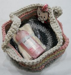 Crochet basket - would make a lovely gift filled with fun bath goodies!