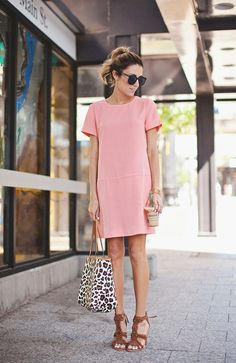 Neutral Work Wardrobe - Hello Fashion - blush snow leopard summer look Trajes Business Casual, Business Casual Outfits, Summer Business Casual, Shift Dresses, Tea Dresses, Mode Chic, Mode Style, Spring Summer Fashion, Spring Outfits