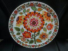 Mod Flowered Orange Green Schmidt Catalina Plate Brazil 1960s