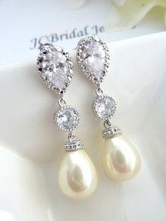 Hochzeit Ohrringe Braut Ohrring Elfenbein von JCBridalJewelry