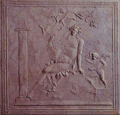 The myth of Narcissus,   stucco relief, Stabiae.   Antiquarium, Castellammare di Stabia, Italy
