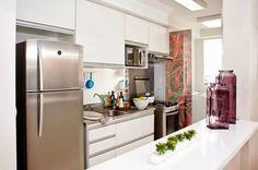 cozinha integrada branca pequena