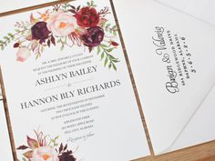 Featured photos courtesy of Ashley Laprade http://www.ashleylaprade.com This suite includes a 5 x 7 invitation and a 5 x 3.5 RSVP with envelopes. This invitation suite is not available as a printable PDF. Purchase SAMPLE to receive printed (non-custom) copies of this invitation suite on the various paper types that I offer and that are in stock. You may purchase a full sample pack here: http://etsy.me/227Vxsh *Requests for the artwork included in this stationery and requests for editable…