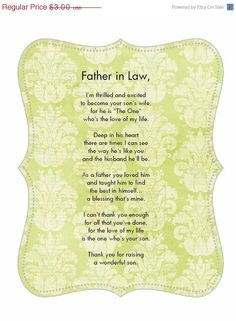 Father in Law poem card from Bride Goes great with Personalized Wedding Handkerchief