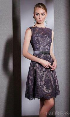 Elegant Light Slate Gray Lace Short Empire Sleeveless Prom Dress Cheap tzdress3965