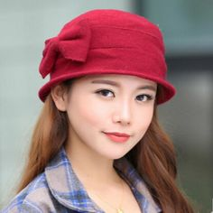 Women winter bucket hat with bow wool hats outdoor wear Mens Bucket Hats, Wool Hats, Outdoor Wear, Flower Hats, Kids Hats, Hat Making, Hats For Women, Wool Blend, Lady