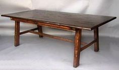 #10-11MOD1 CUSTOM JAPANESE STYLE TABLE. Available in solid Mahogany, Walnut, Oak or Alder, with a choice of different colors and ranges of distress. SHOWN HERE IN FRENCH WALNUT WITH HEAVY DISTRESS. - America As shown 108   www.DosGallos.com 924 N. Formosa Ave., Los Angeles, CA 90046 - Phone: (323) 851-9117 - Fax: (323) 851-2443