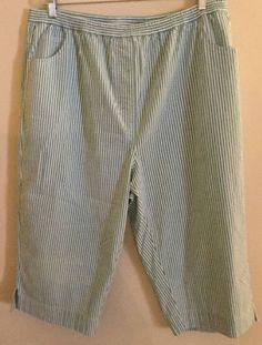 QVC Quacker Factory Seersucker Capri Cropped Pants Sz XL 18 20 New | eBay