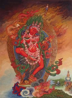 Vajrayogini Thangka in the Newari Style - From Old Collection