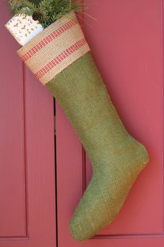 Love these green burlap stockings...