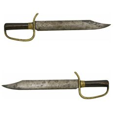 """Rather Unusual, Very Well Made, Brass Hilted Civil War Confederate D-Guard Bowie Knife. 17"""" overall with 12¼"""" blade. The blade is 1 5/8"""" wide at the base and 3/16"""" thick with the back of the blade slightly rounded. The blade utilizes a 3¼"""" clipped point and is excellent, smooth and dark with just one small patch of very light pitting near the tip. (Continued in comments.)"""