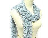 Pastel Blue Hand Knit Scarf - Cotton Blend