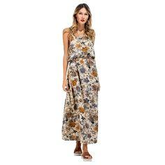 (12.9$)  Buy here - http://aijmj.worlditems.win/all/product.php?id=G8558BL-XL - New Women Long Slip Dress Floral Print Spaghetti Strap Backless Sleeveless Casual Beachwear Maxi Sundress Blue